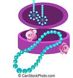 nyaklánc, jewelery, menstruáció, doboz, fülbevaló