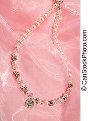 nyaklánc, rózsaszínű, sifón