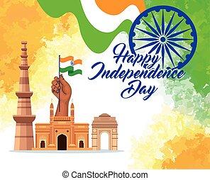 nyelvemlékek, chakra, hagyományos, szabadság, indiai, boldog, lobogó, ashoka, nap