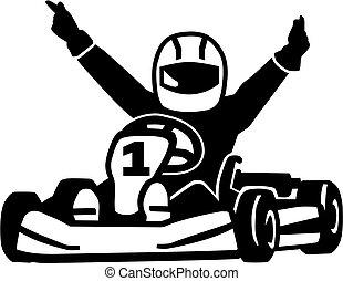 nyerő, kart, versenyfutó