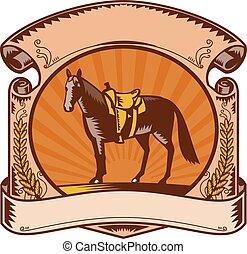 nyereg, felcsavar, ló, western, fametszet