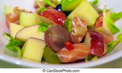 nyers, gyümölcs, lazac, saláta, sashimi