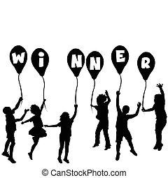 nyertes, körvonal, fogalom, léggömb, gyerekek