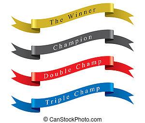 nyertes, vektor, állhatatos, bajnok, szalag