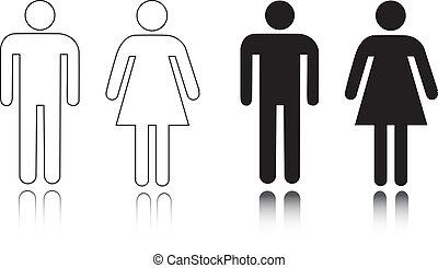 nyilvános illemhely, hím, női, ikon
