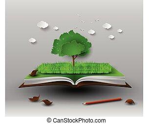 nyitott könyv, fa
