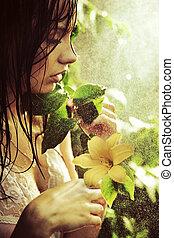 nyomasztó, virág, fiatal, szépség