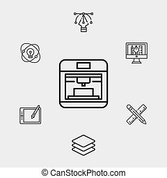 nyomdász, jelkép, ikon, aláír, vektor