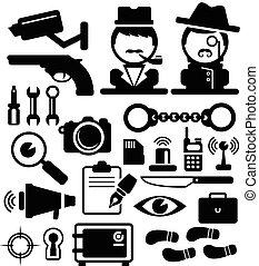 nyomozó, állhatatos, vektor, ikonok