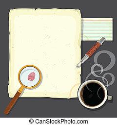 nyomozó, íróasztal, gyilkosság, rejtély