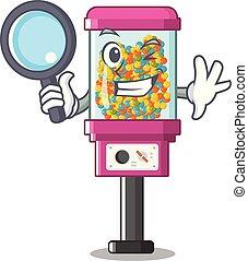 nyomozó, gép, árul, karikatúra, cukorka