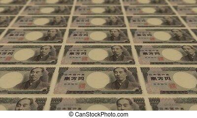 nyomtatás, pénz, 10000 yen, japán