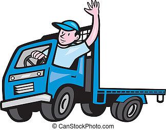 nyomtatógép, sofőr, csereüzlet, hullámzás, karikatúra