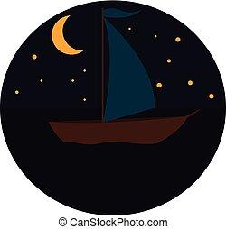 nyomtat, éjszaka, vektor, vitorláshajó, háttér, fehér, ábra