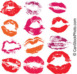 nyomtat, ajkak, állhatatos, csókol