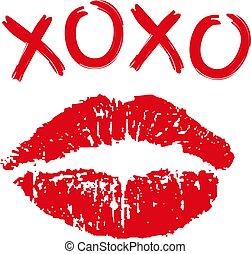 nyomtat, fehér, csókol, ajakrúzs, háttér