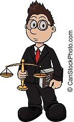 nyomtat, karikatúra, ábra, ügyvéd