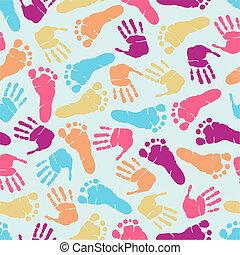 nyomtat, motívum, kéz, seamless