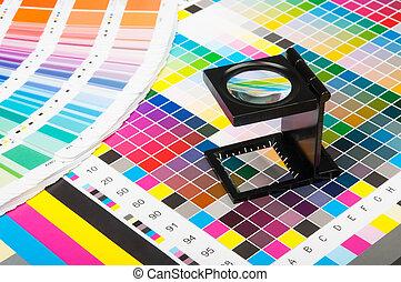 nyomtat, szín, vezetőség, termelés