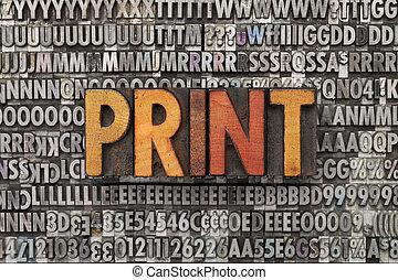 nyomtat, szó, gépel, másológép