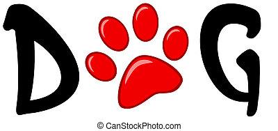nyomtat, szó, kutya, piros, mancs