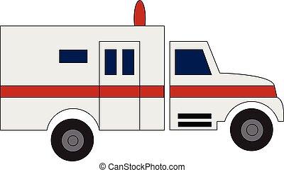 nyomtat, vektor, kórház, háttér, vezetés, fehér, autó, mentőautó, ábra