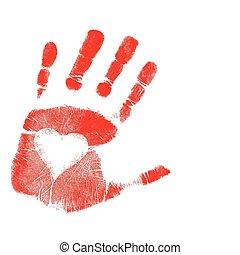 nyomtat, vektor, szeret, /, kéz