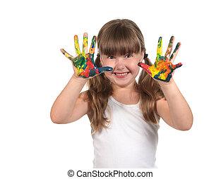 nyomtatványok, festett, csinál, kéz, kézbesít, hajlandó