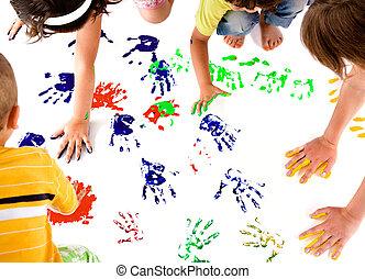 nyomtatványok, gyerekek, kéz