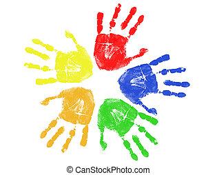 nyomtatványok, színes, kéz