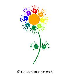 nyomtatványok, virág, színes, kéz