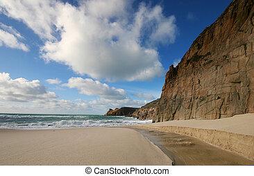 nyugat, cornwall, tengerpart, nanjizal, uk.