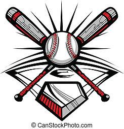 nyugat, keresztbe tett, üt, softball labdajáték, baseball, vagy