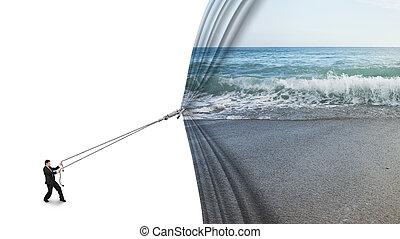 nyugat, tengerpart, üzletember, vontatás, tenger, tiszta, befedett, nyílik, függöny, homokos