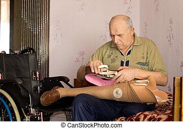 nyugdíjas, övé, alkalmas, mesterséges hazardőr