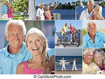 nyugdíjas, romantikus, montázs, párosít szünidő, idősebb ember, boldog