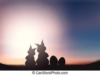 nyuszi, árnykép, ég, ellen, napnyugta, húsvét