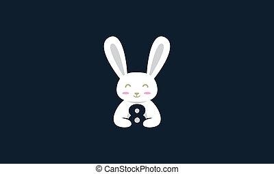 nyuszi nyúl, állat, kisállat, csinos, 8, szám, vektor