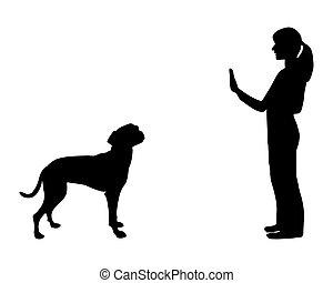 (obedience):, képzés, abbahagy, vezényel, kutya