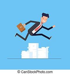 obstacles., vagy, work., felett, eps10., ábra, hajszoló, nagy, menedzser, ugrás, vektor, üzletember, documents., kazal, ember