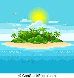 ocean., fa., utazás, ábra, óceán, tropikus, pálma, háttér, sziget, táj
