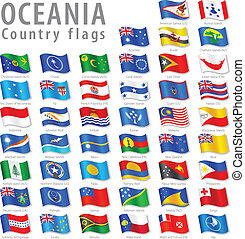 oceanian, vektor, állhatatos, lobogó, nemzeti
