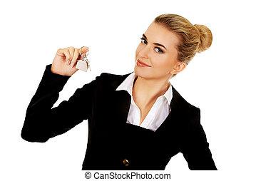 odaad, ügynök, kulcsok, üzletasszony, mosoly, birtok, tényleges