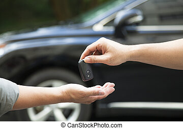 odaad, autó, felfogó, kulcs, kézbesít