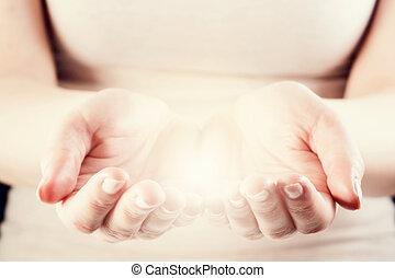 odaad, nő, fény, energia, oltalmaz, törődik, concept., hands.