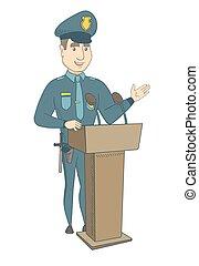 odaad, tribune., beszéd, fiatal, rendőr