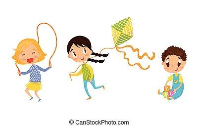 odaköt, ugrás, eltöm, játék, gyerekek, aktivál, állhatatos, vektor, játékszer