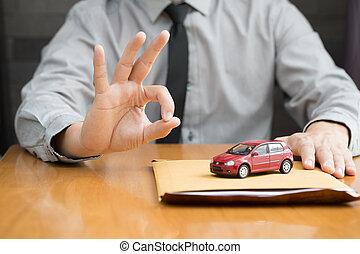 okmányok, autó kölcsönad, alkalmazás, előkészítő, fogyasztó, part