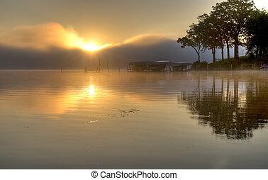 okoboji, felett, tó, napkelte
