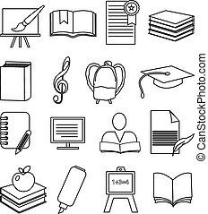 oktatás, állhatatos, ikonok